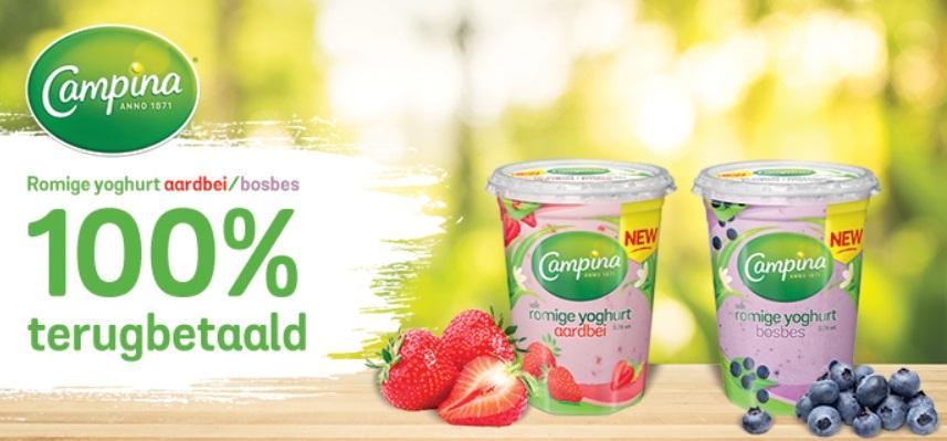 Campina yoghurt 100% terugbetaald