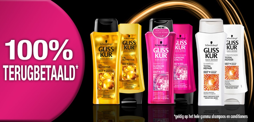 Gliss Kur shampoo of conditioner 100% terugbetaald op myShopi