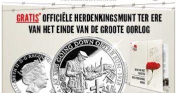 Gratis herdenkingsmunt Groote Oorlog Belgische Munthuis
