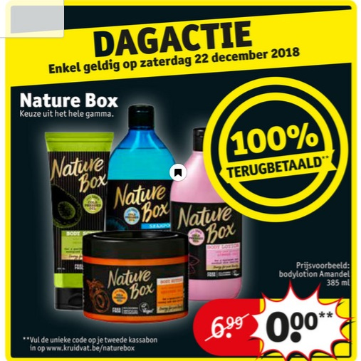 Nature Box cosmetica 100% terugbetaald bij Kruidvat