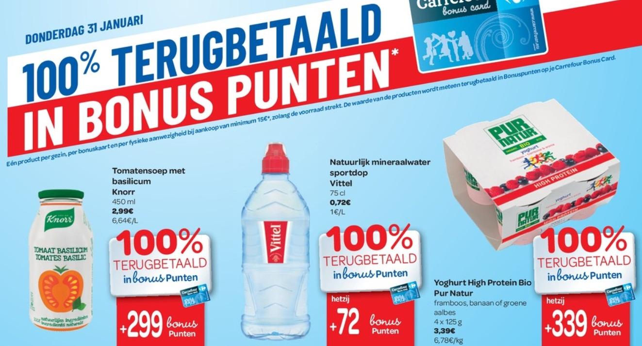 100% terugbetaalde producten bij Carrefour op 31 januari 2019