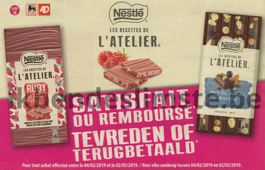 Nestle chocolade Les recettes de l'atelier 100% terugbetaald