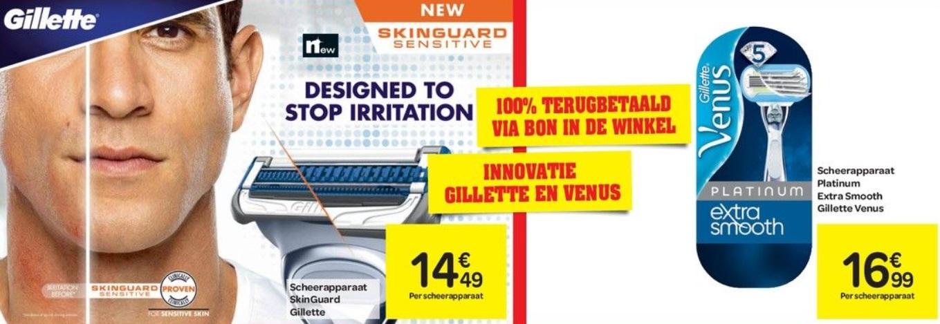 Gillette Venus scheerapparaat 100% terugbetaald
