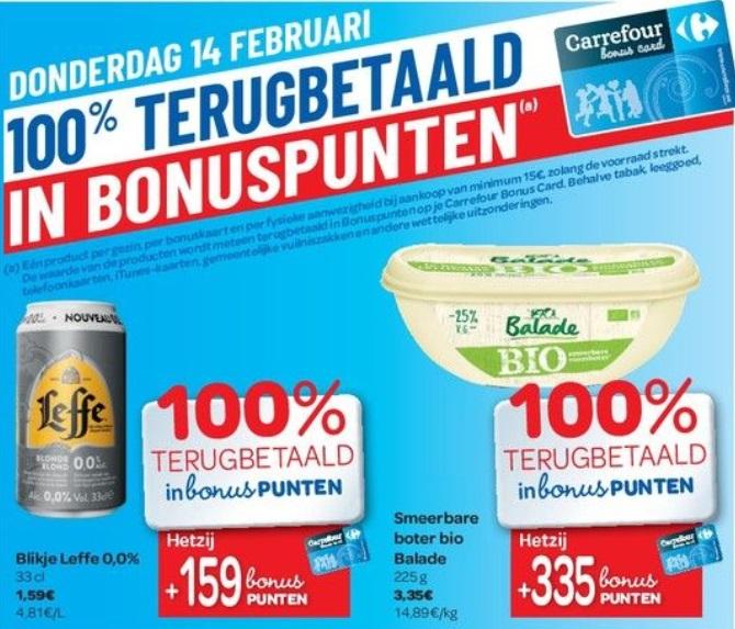 % terugbetaalde producten bij Carrefour op 14/02/2019