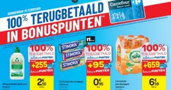 100% terugbetaalde producten bij Carrefour op 21 februari 2019