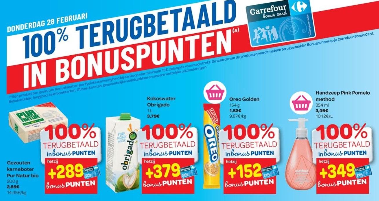 100% terugbetaalde producten bij Carrefour op 28 februari 2019