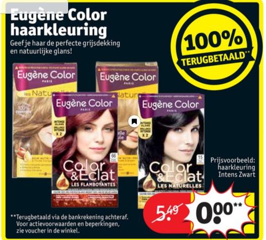 Eugène Color haarkleuring 100% terugbetaald bij Kruidvat