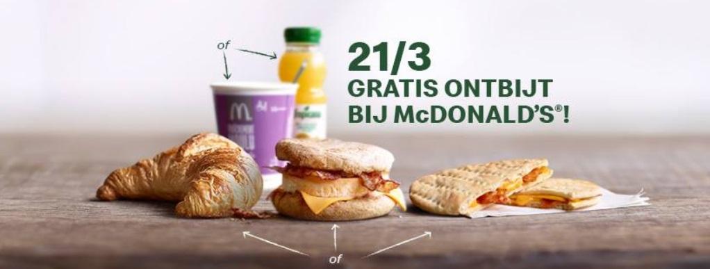 Gratis ontbijt bij McDonald's op 21 maart 2019