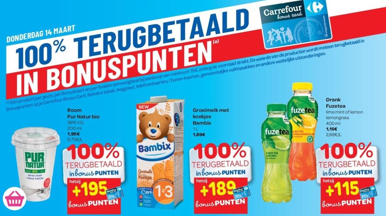 100% terugbetaalde producten bij Carrefour op 14 maart 2019