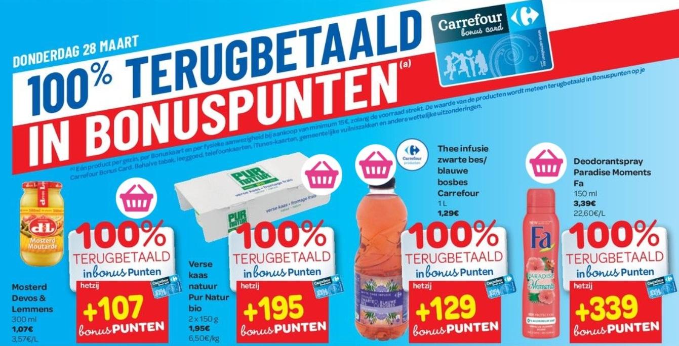 100% terugbetaalde producten bij Carrefour op 28 maart 2019