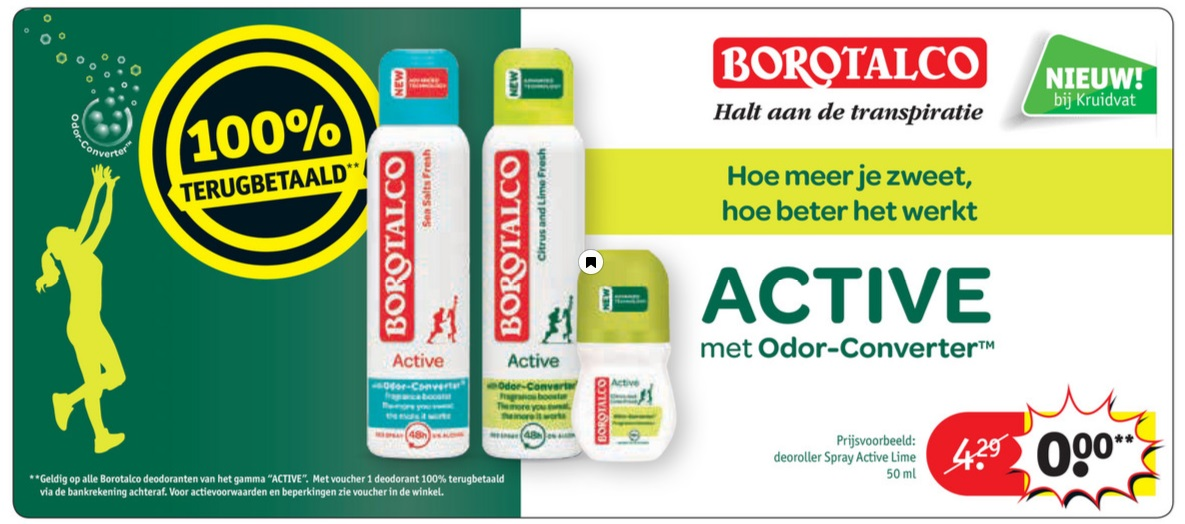Borotalco deodorant 100% terugbetaald bij Kruidvat