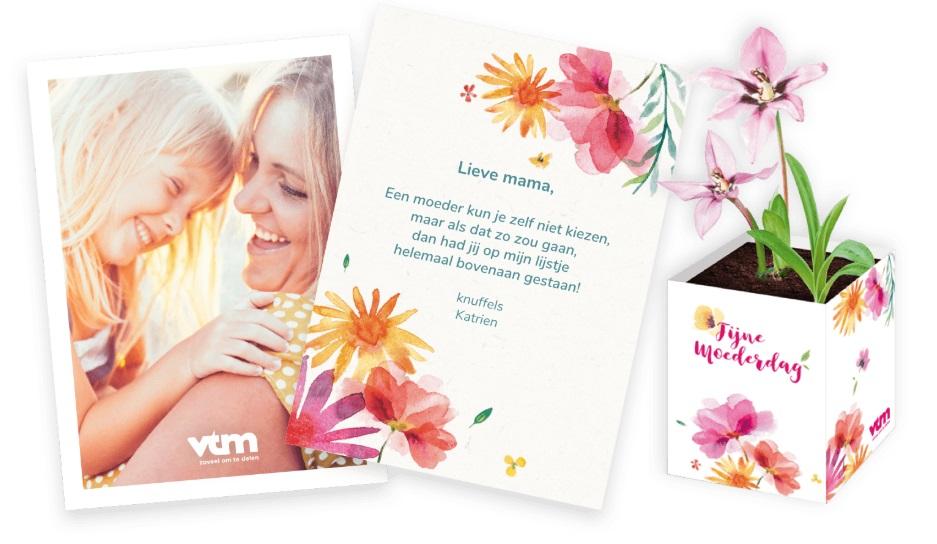 Gratis bloem en wenskaart voor moederdag