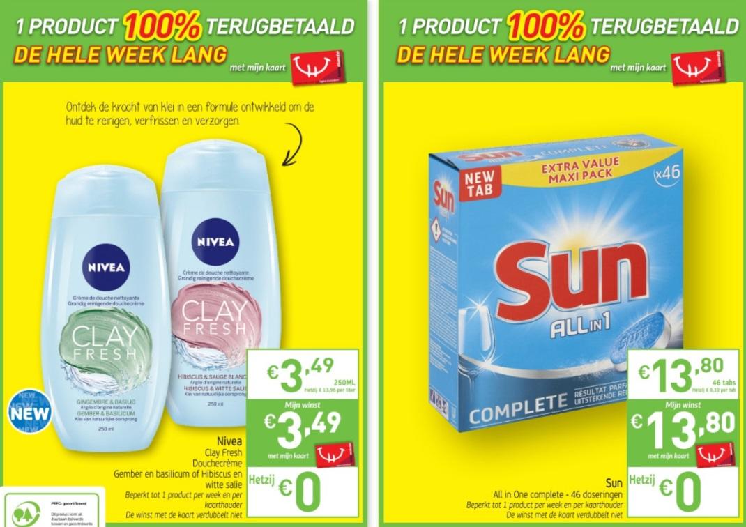 Nivea douchegel en Sun vaatwastabletten 100% terugbetaald bij Intermarché