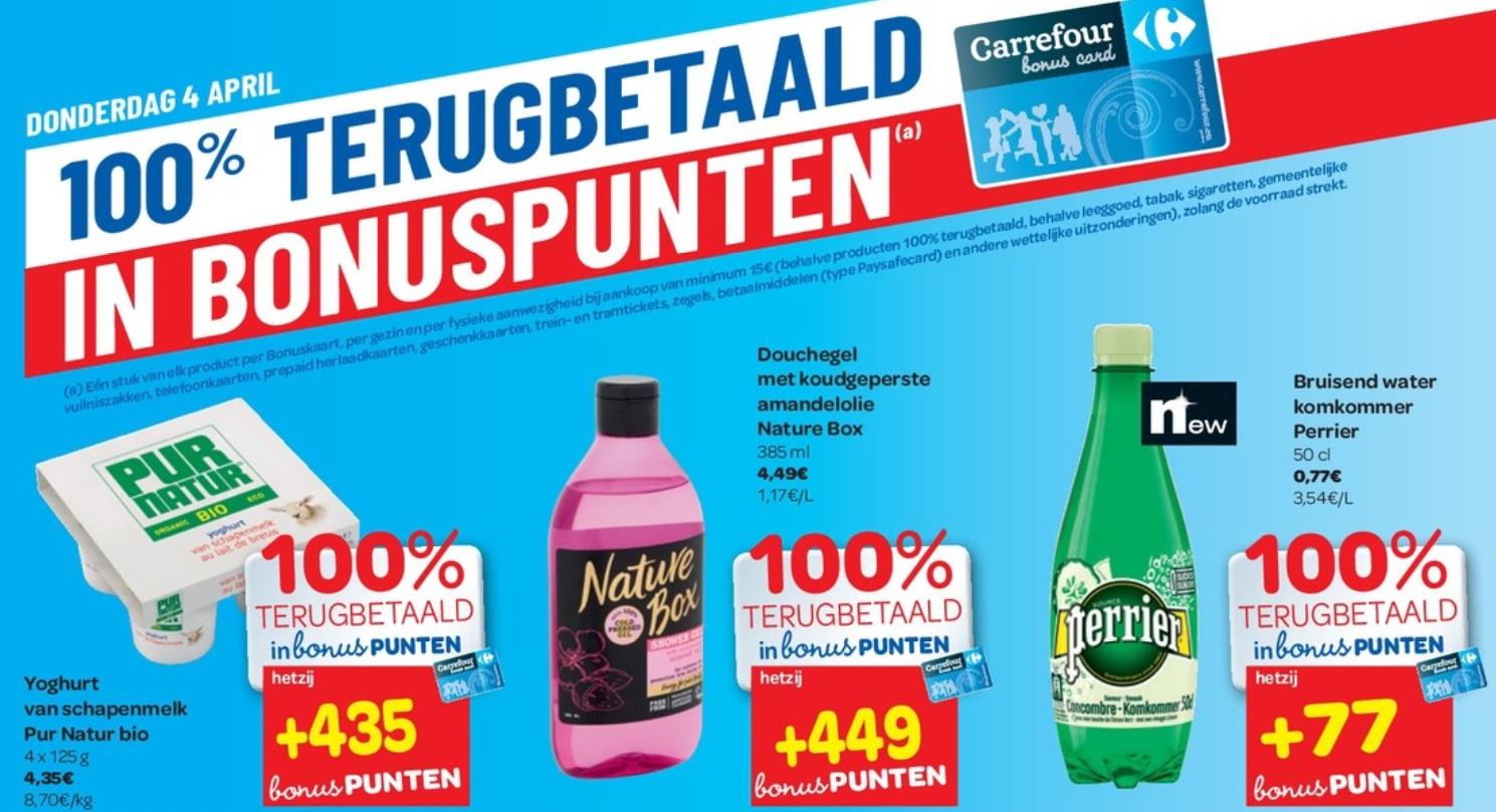 100% terugbetaalde producten bij Carrefour op 4 april 2019