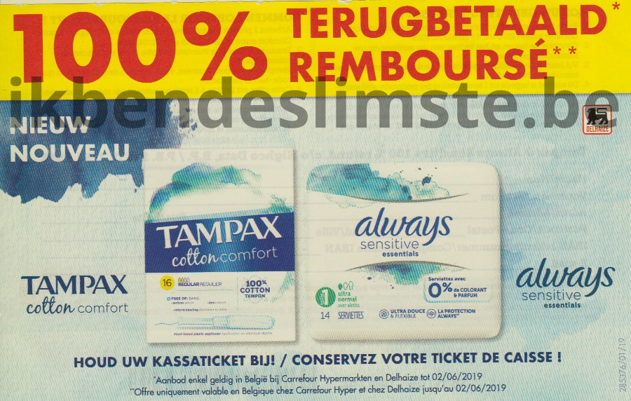 Always maandverband of Tampax tampons 100% terugbetaald