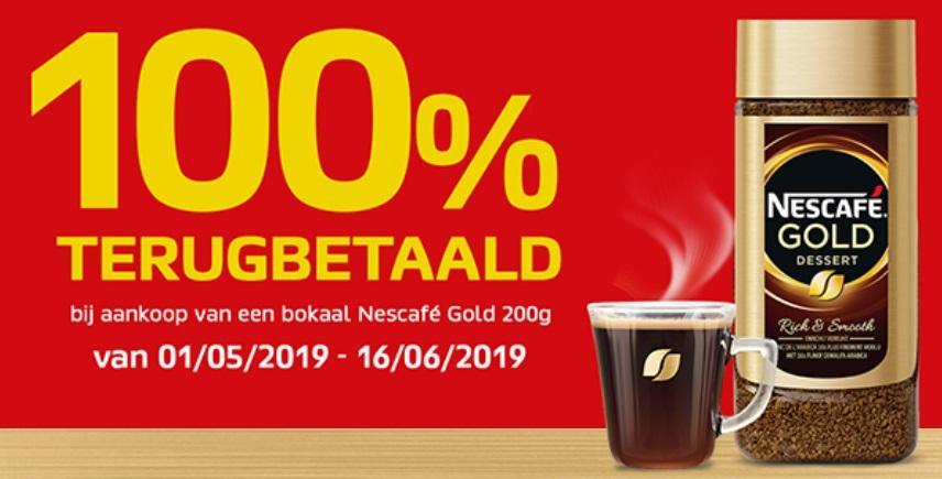 Nescafé Gold oploskoffie 100% terugbetaald