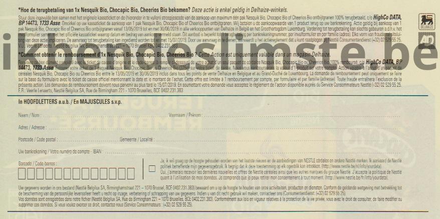 Nesquik bio, Chocapic bio of Cheerios bio ontbijtgranen 100% terugbetaald
