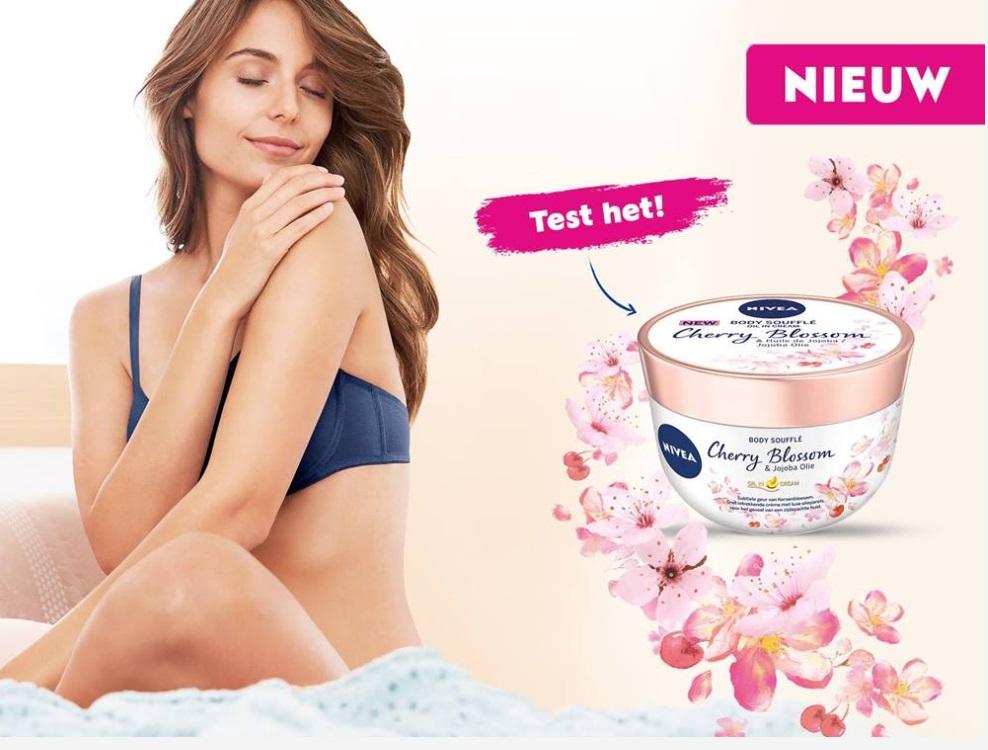 Gratis test van de nieuwe Body Soufflé met kersenbloesem en jojobaolie van Nivea