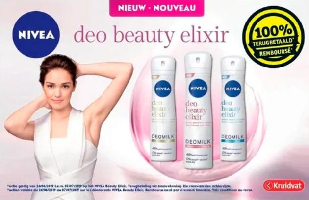 Nivea Beauty Elixir deodorant 100% terugbetaald bij Kruidvat