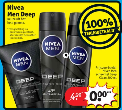 Nivea Men Deep product 100% terugbetaald bij Kruidvat