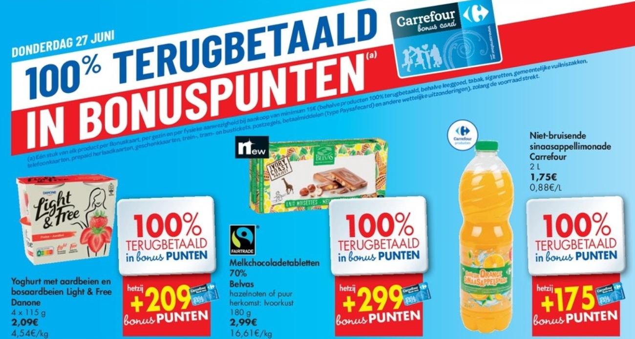 100% terugbetaalde producten bij Carrefour Hyper op 27 juni 2019