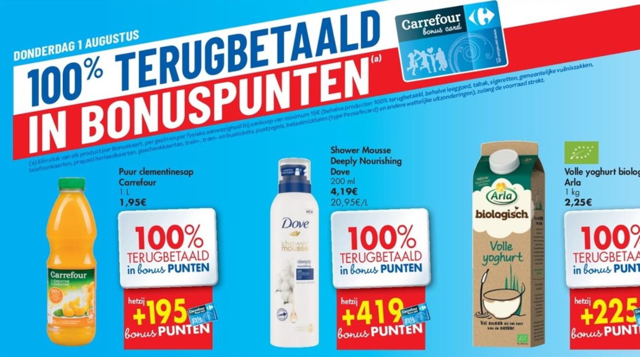 100% terugbetaalde producten bij Carrefour op 1 augustus 2019