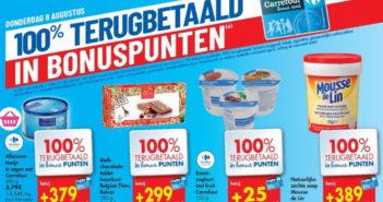 100% terugbetaalde producten bij Carrefour op 8 augustus
