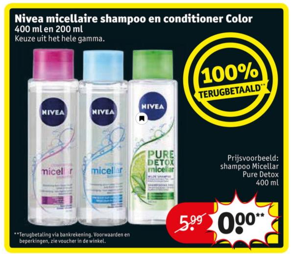 Nivea micellar shampoo of conditioner 100% terugbetaald bij Kruidvat