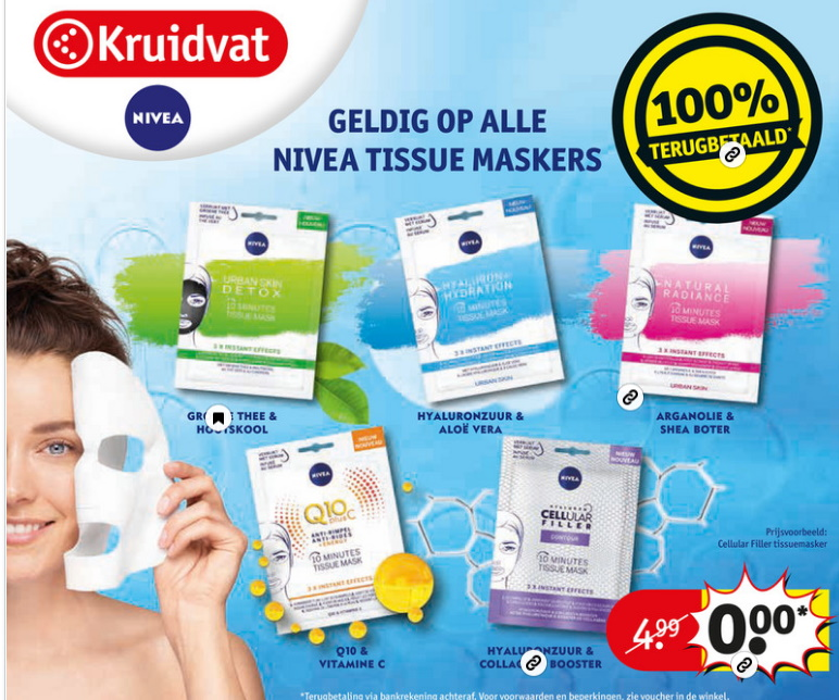 Nivea Tissue Masker 100% terugbetaald bij Kruidvat