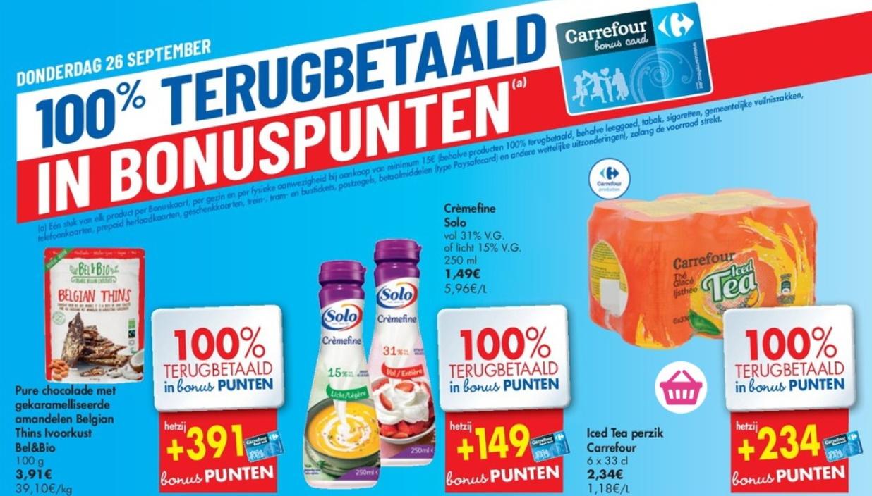 100% terugbetaalde producten bij Carrefour op 26 september 2019