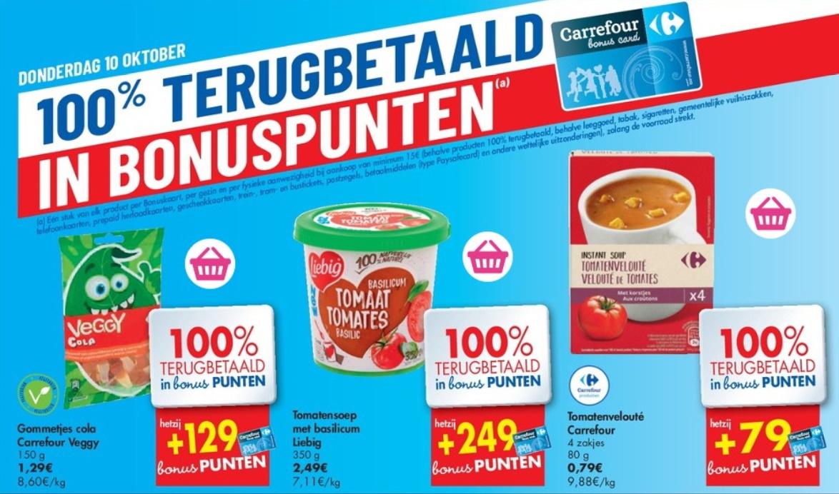 100% terugbetaalde producten bij Carrefour op 10 oktober 2019