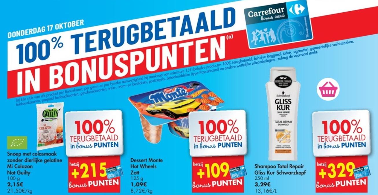 100% terugbetaalde producten bij Carrefour op 17 oktober 2019