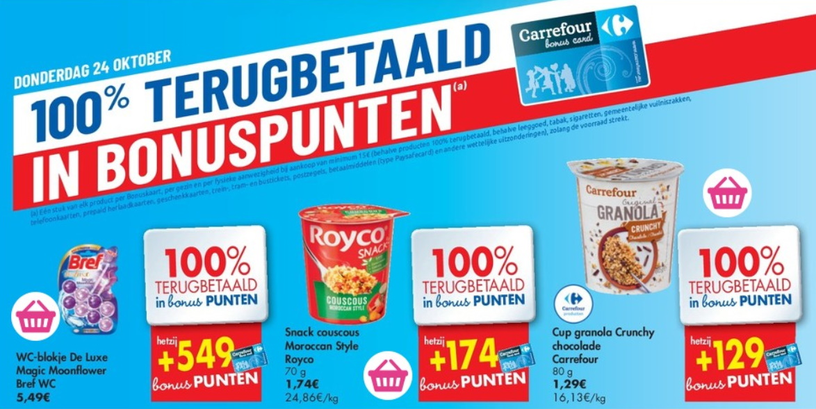 100% terugbetaalde producten bij Carrefour op 24 oktober 2019