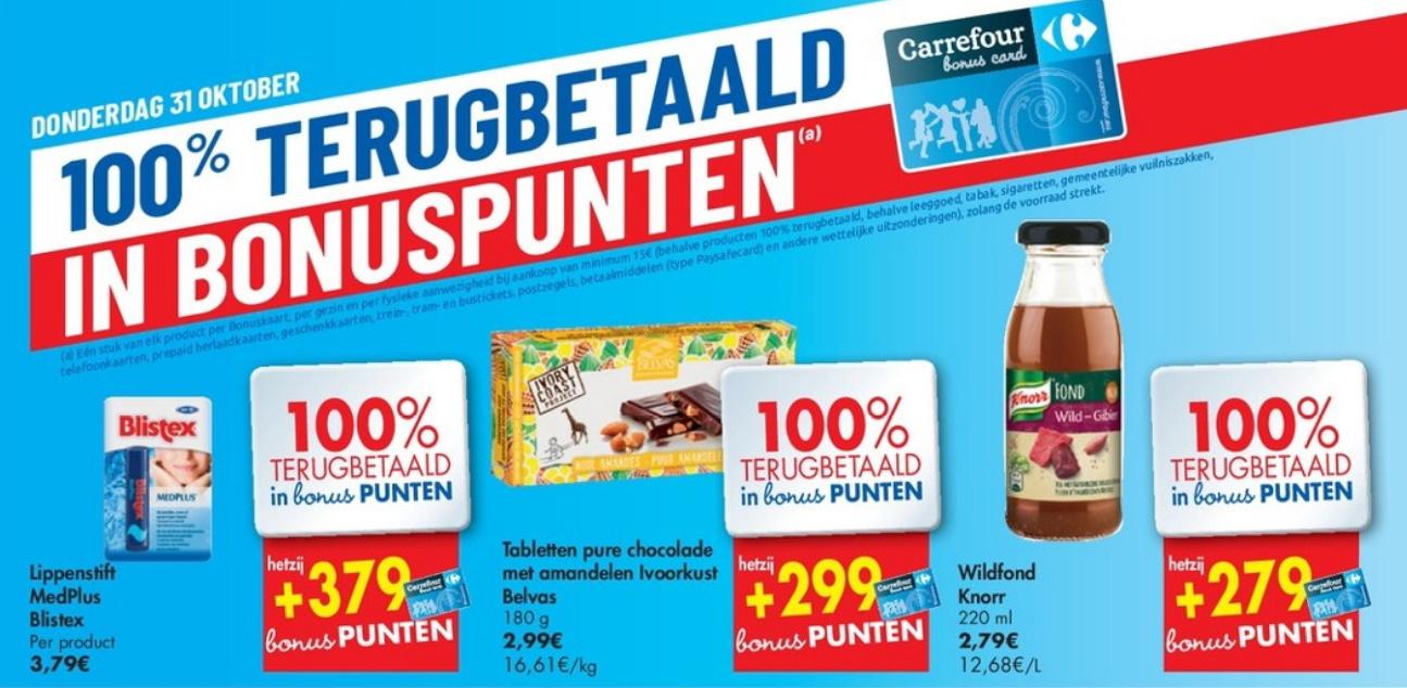 100% terugbetaalde producten bij Carrefour op 31 oktober 2019