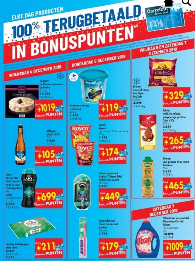 100% terugbetaalde producten bij Carrefour in december 2019