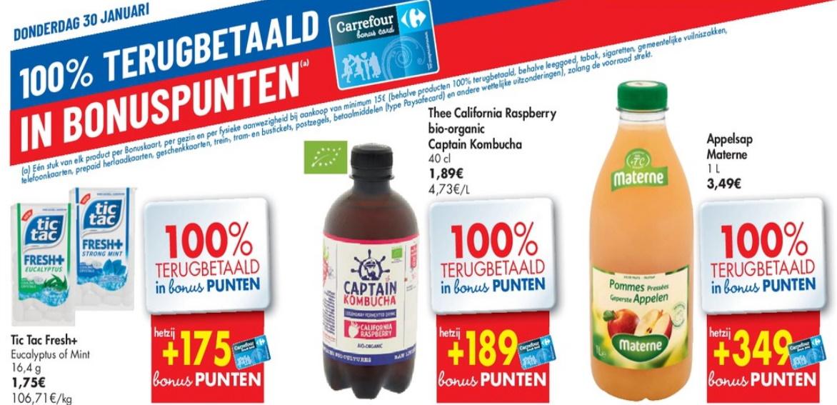 100% terugbetaalde producten bij Carrefour op 30 januari 2020