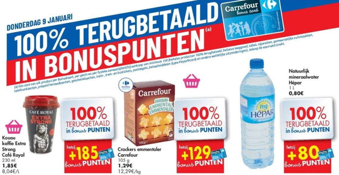 100% terugbetaalde producten bij Carrefour op 9 januari 2020