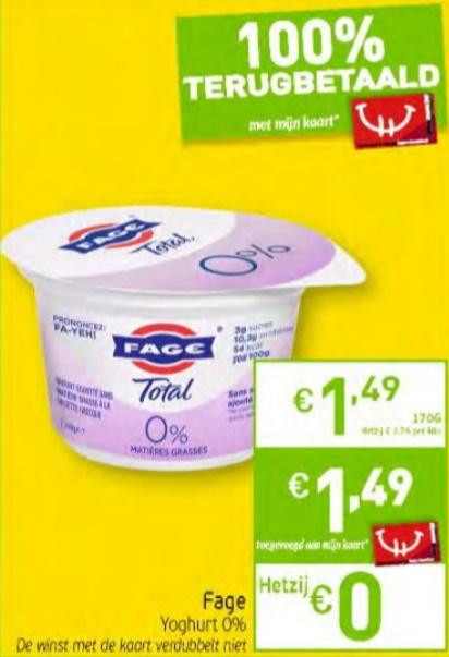 Fage yoghurt 100% terugbetaald bij Intermarché