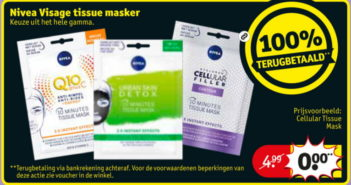 Nivea tissue masker 100% terugbetaald