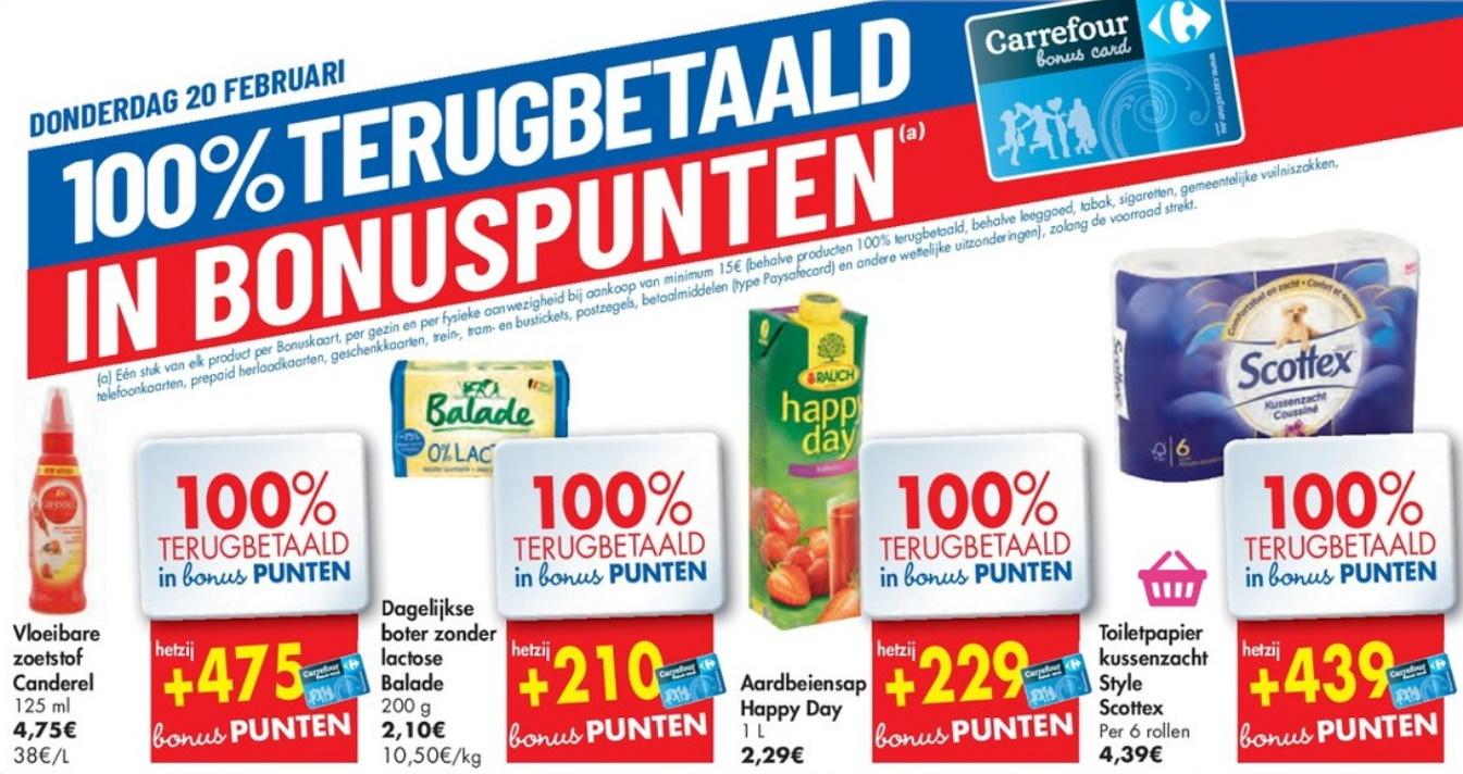 100% terugbetaalde producten bij Carrefour op 20 februari 2020