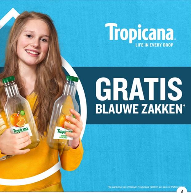 Gratis PMD blauwe vuilniszakken met Tropicana