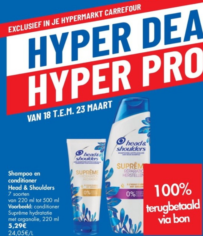 Head and Shoulders shampoo en conditioner 100% terugbetaald