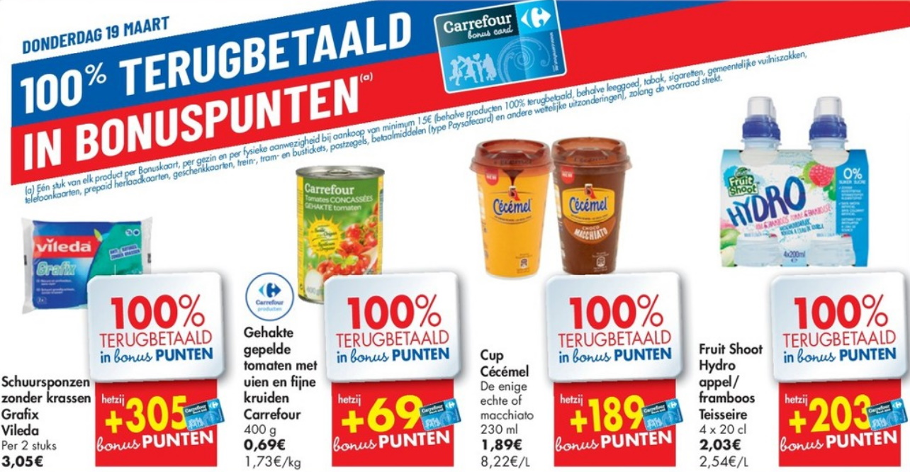100% terugbetaalde producten bij Carrefour op 19 maart 2020