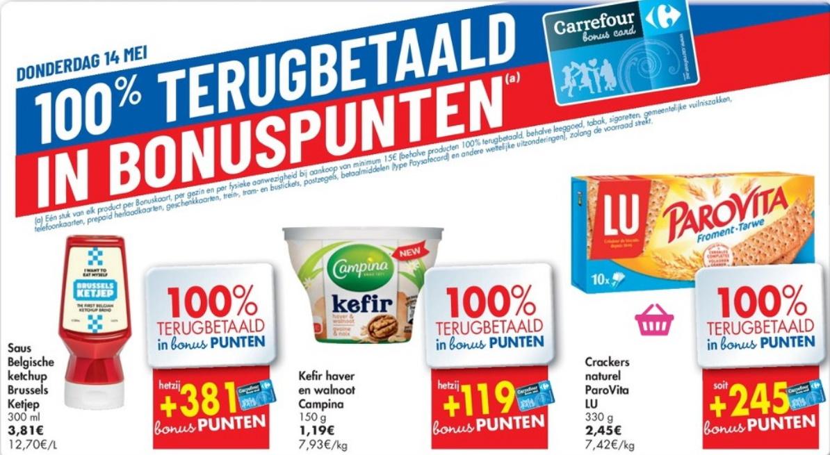 100% terugbetaalde producten bij Carrefour op 12 mei 2020