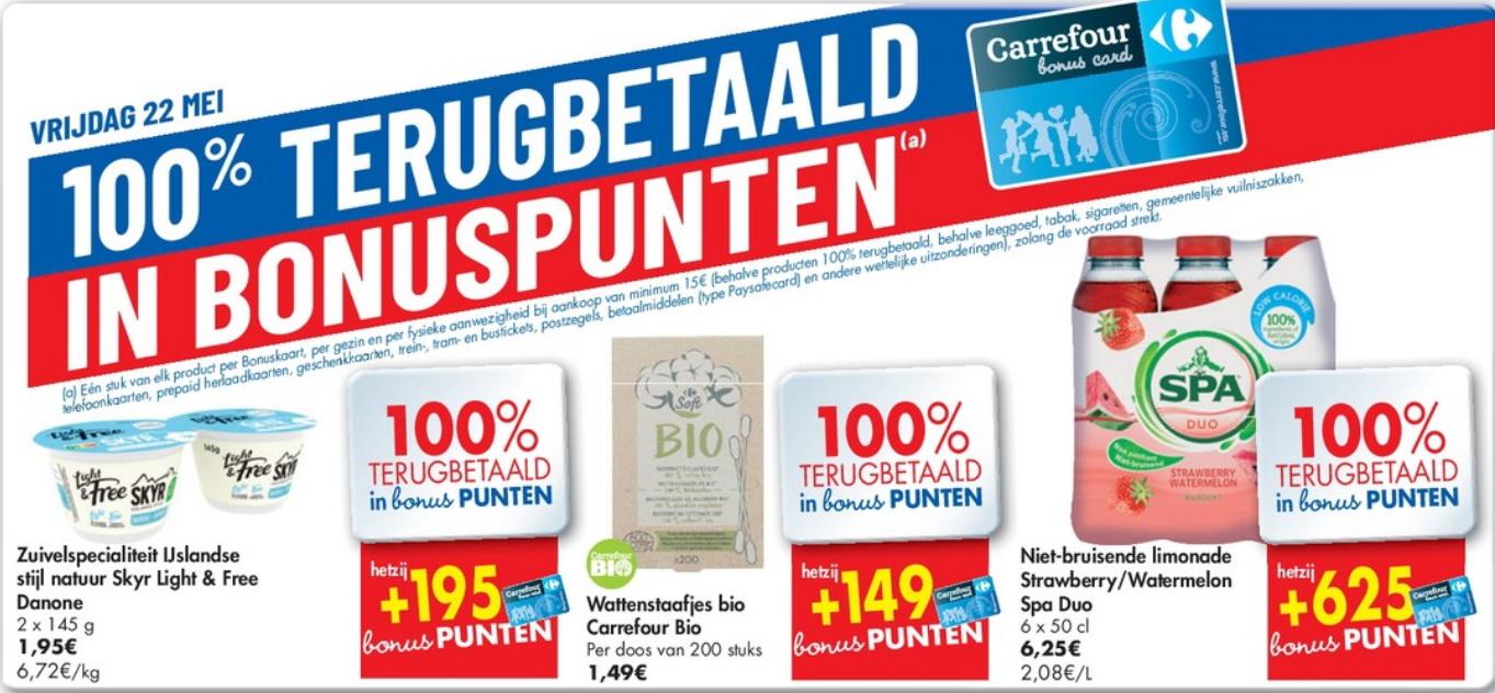 100% terugbetaalde producten bij Carrefour op 22 mei 2020