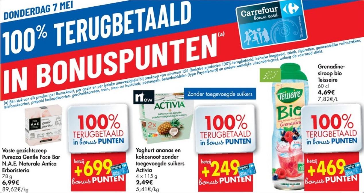 100% terugbetaalde producten bij Carrefour op 7 mei 2020
