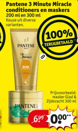 Pantene 3 Minute Miracle conditioner of masker 100% terugbetaald