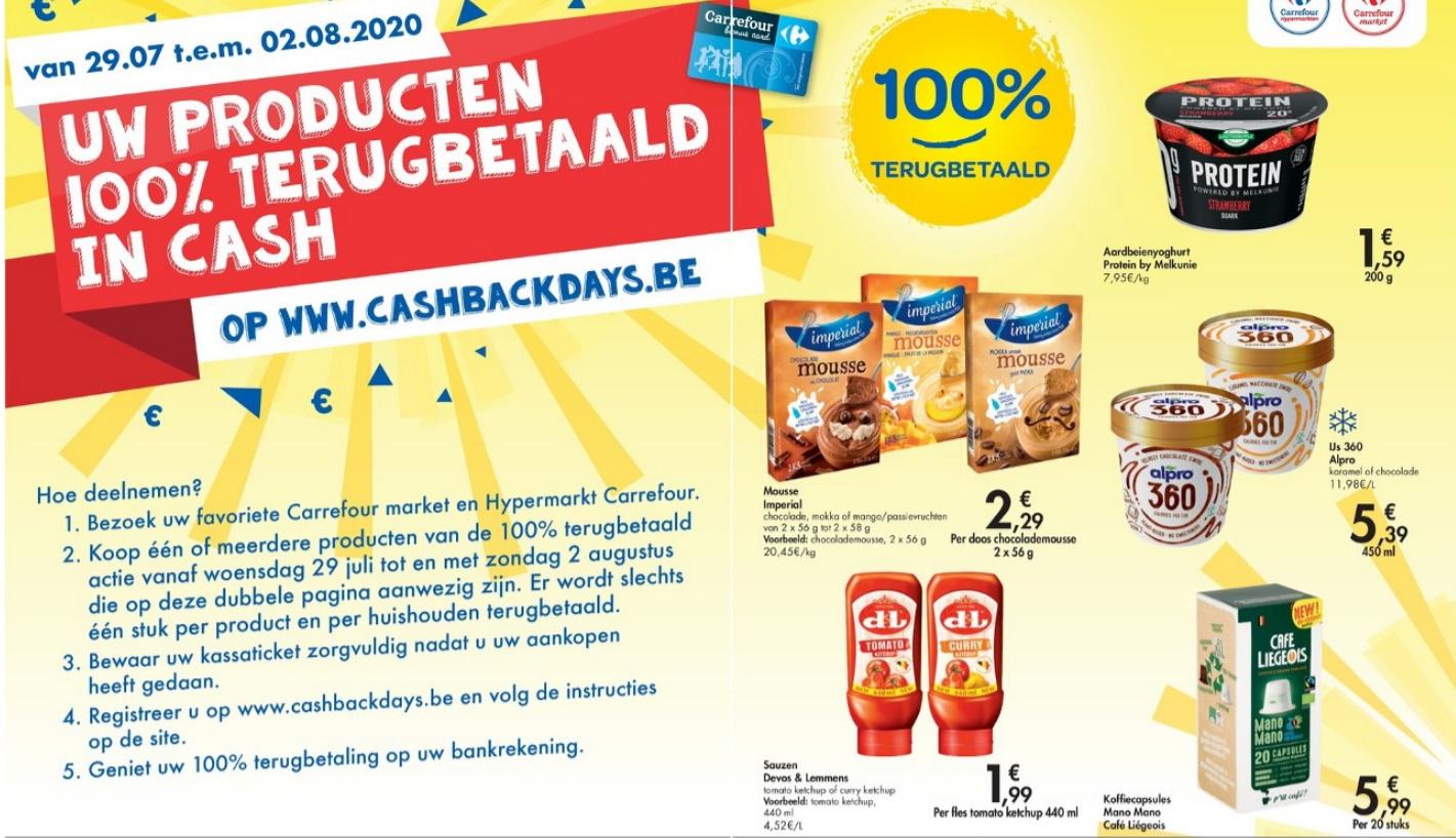 Gratis producten bij Carrefour gedurende de Cashback Days