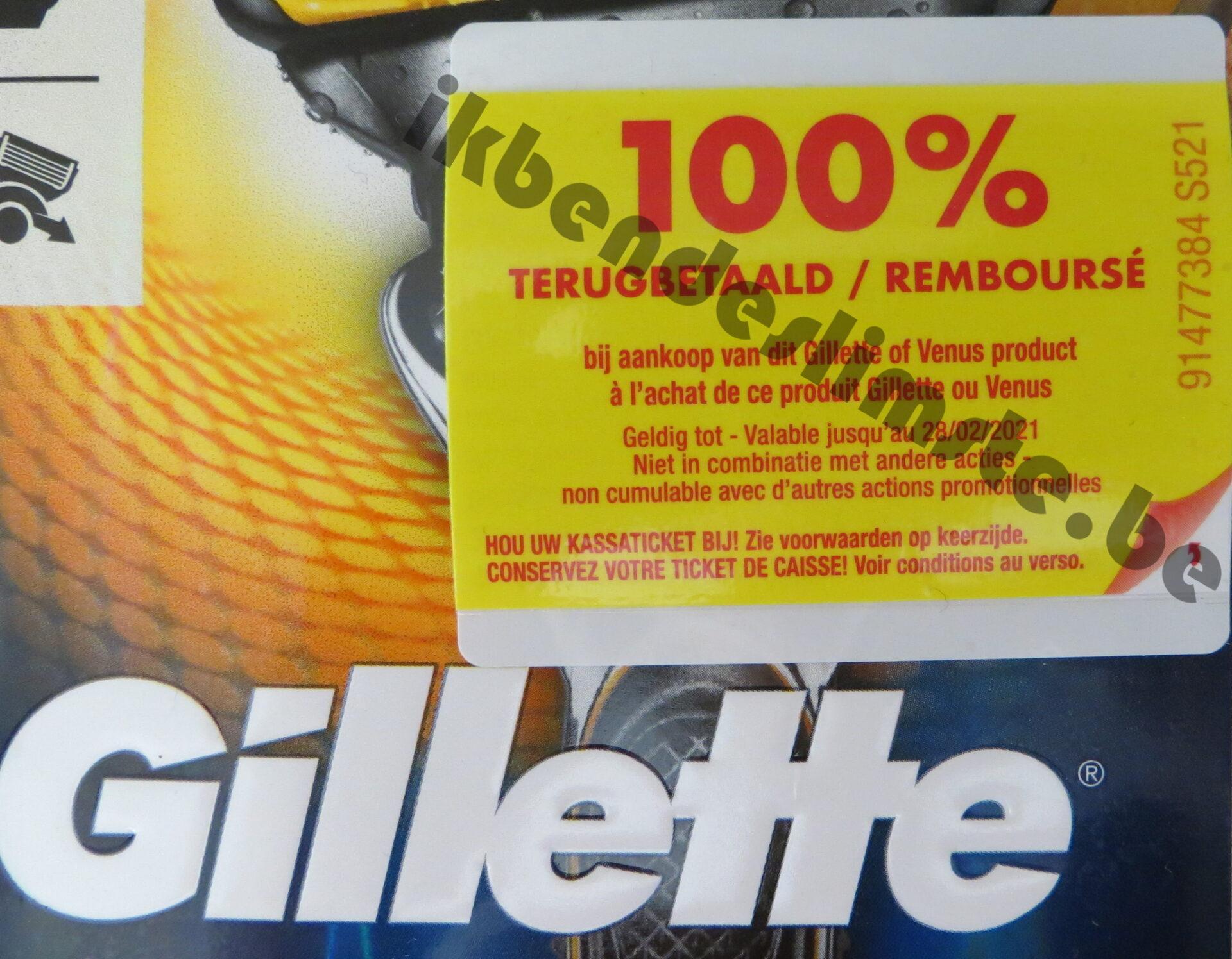 Gillette of Venus scheerapparaat 100% terugbetaald