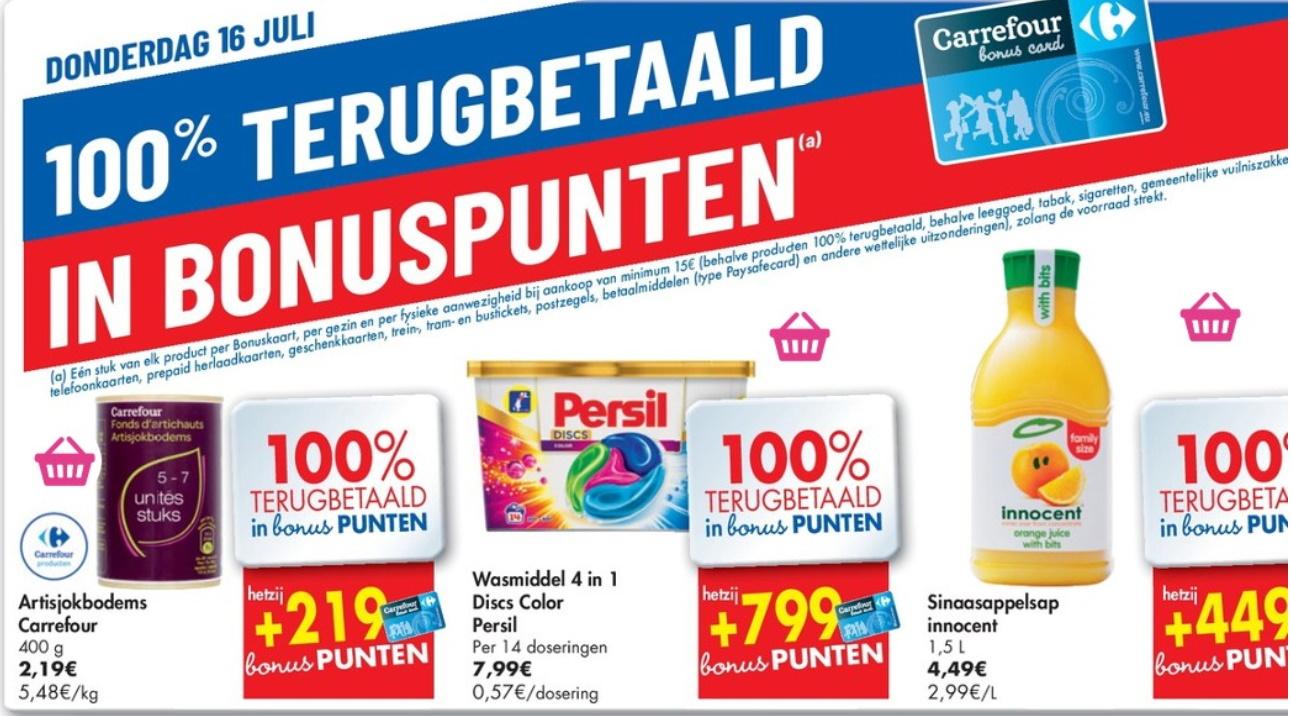 100% terugbetaalde producten bij Carrefour op 16 juli 2020